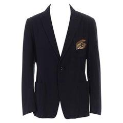 new DRIES VAN NOTEN Boyler blue gold sequin eye embellished blazer jacket FR50 L