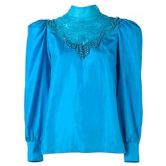 New DRIES VAN NOTEN Embellished Pure Silk Blue Blouse FR40 US 8
