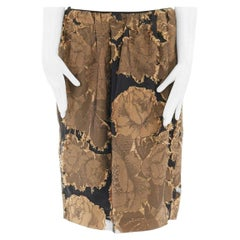 new DRIES VAN NOTEN gold black oriental floral raw jacquard gauze skirt FR42 XL
