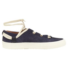 new DRIES VAN NOTEN navy blue suede lace up ankle wrap casual sneakers EU41