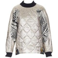 new DRIES VAN NOTEN quilted metallic gold cloque oriental jacquard pullover XS