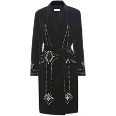 New DRIES VAN NOTEN 'Ravik' Black Sequin Embellished Velvet Coat FR42 US10