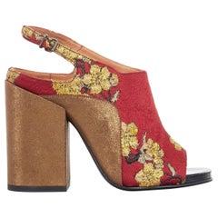 new DRIES VAN NOTEN red oriental blossom jacquard gold chunky heel sandal EU37.5