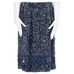 new DRIES VAN NOTEN Runway AW15 blue sequin pailette tassel flapper skirt FR38 M