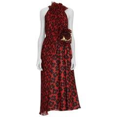 New DRIES VAN NOTEN Runway Ruffle Sleeveless Red Silk Dress FR38 US 6