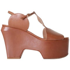 new DRIES VAN NOTEN Runway SS16 brown circle cutout wedge heel sandal shoe EU36