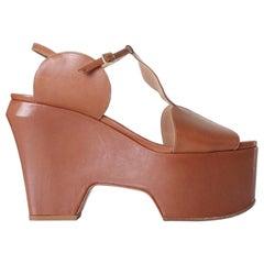 new DRIES VAN NOTEN Runway SS16 brown circle cutout wedge heel sandal shoe EU40