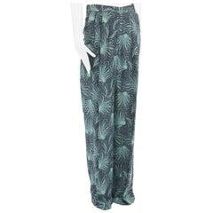 new DRIES VAN NOTEN Runway SS16 green tropical leaf print wide leg pant FR38 M