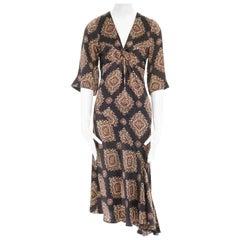 new DRIES VAN NOTEN SS15 Dylena black pixelated paisley silk ruffle dress FR34 S