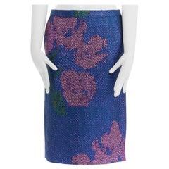 """new DRIES VAN NOTEN SS15 metallic blue pink floral chevron pencil skirt FR36 28"""""""
