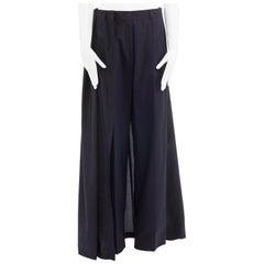 new DRIES VAN NOTEN SS16 Pedra black silk skirt back cotton wide pants FR38 M