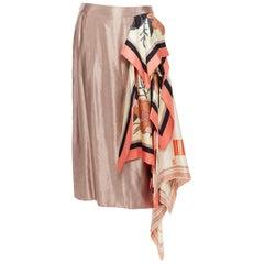 new DRIES VAN NOTEN SS18 dusty pink linen cupro draped floral scarf skirt FR38