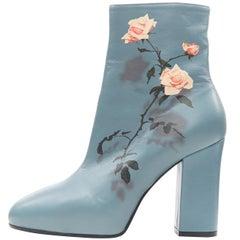 new DRIES VAN NOTEN teal blue floral rose print chunky heel ankle boot EU37