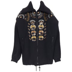 new DRIES VAN NOTEN Veloria black oriental jacquard crystal embellished bomber S
