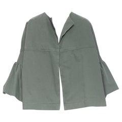 new DRIES VAN NOTEN Vera khaki green washed cotton bell sleeve swing jacket M