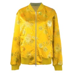 New DRIES VAN NOTEN 'Vesmes' Reversible Floral Print Bomber Satin Jacket sz M