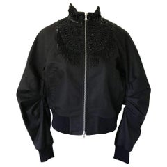 New DRIES VAN NOTEN 'Viard' Beaded Collar Bomber Jacket  FR42 US10