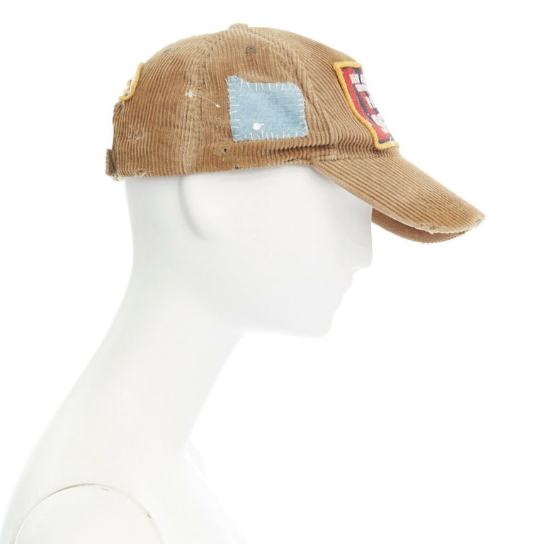 new DSQUARED2 D2 beige paint splattered logo badge distressed corduroy dad cap In Good Condition For Sale In Hong Kong, NT