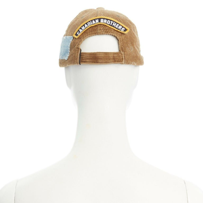 Men's new DSQUARED2 D2 beige paint splattered logo badge distressed corduroy dad cap For Sale