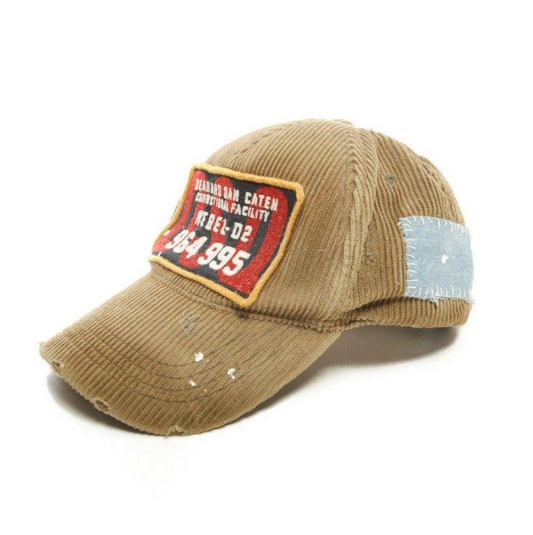 new DSQUARED2 D2 beige paint splattered logo badge distressed corduroy dad cap For Sale 1