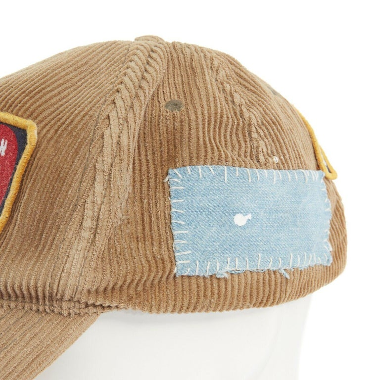 new DSQUARED2 D2 beige paint splattered logo badge distressed corduroy dad cap For Sale 2