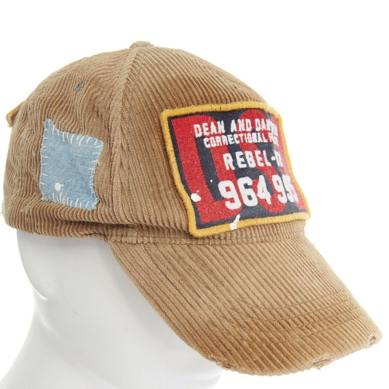 new DSQUARED2 D2 beige paint splattered logo badge distressed corduroy dad cap For Sale 3