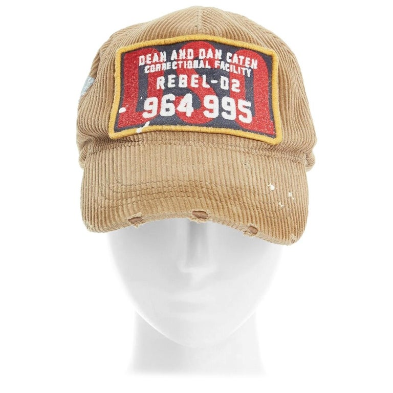 new DSQUARED2 D2 beige paint splattered logo badge distressed corduroy dad cap For Sale