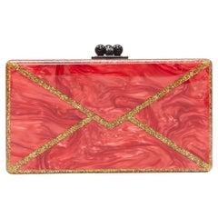 new EDIE PARKER Jean red gold glitter envelope rectangular box clutch bag