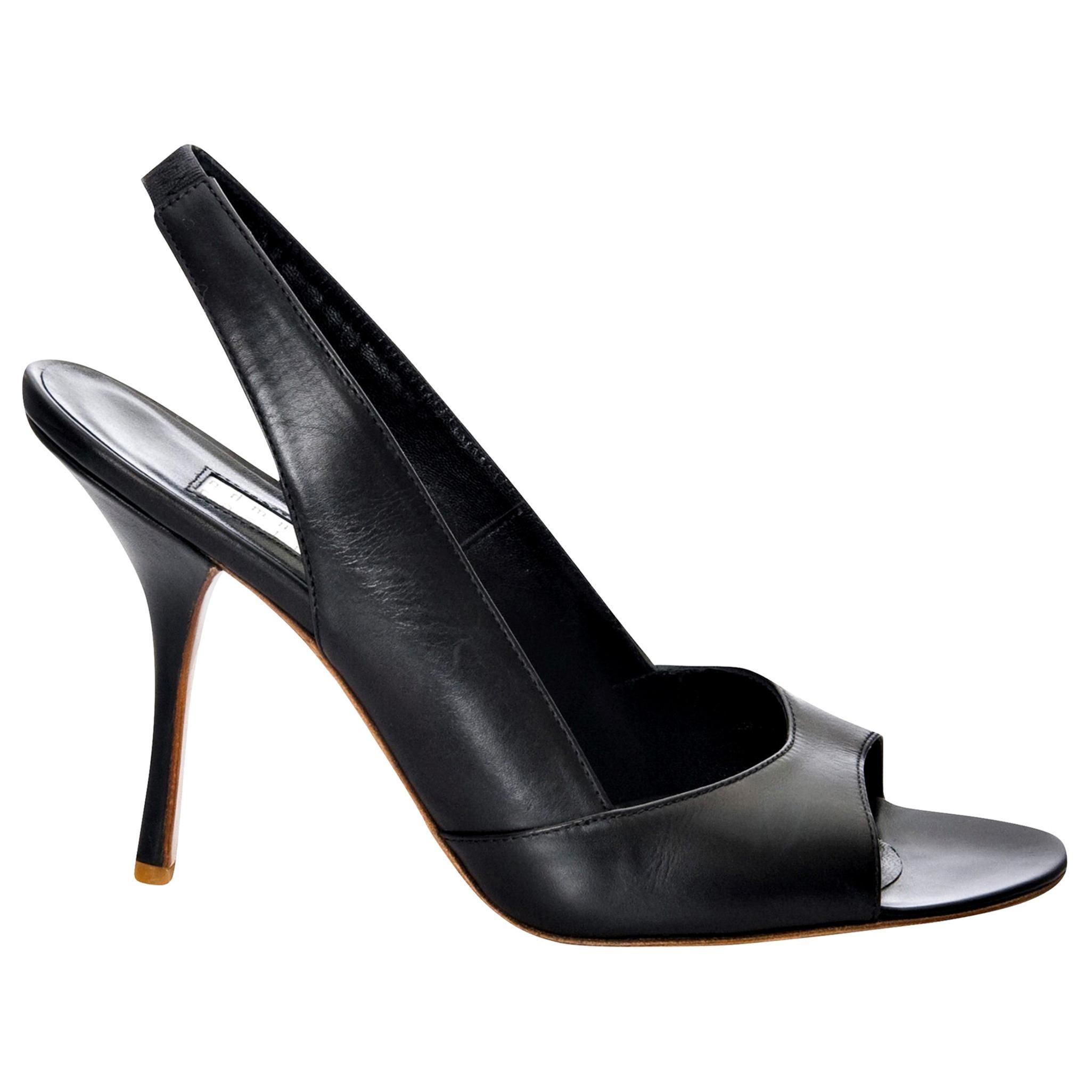 New Edmundo Castillo Black Leather Sling Heels