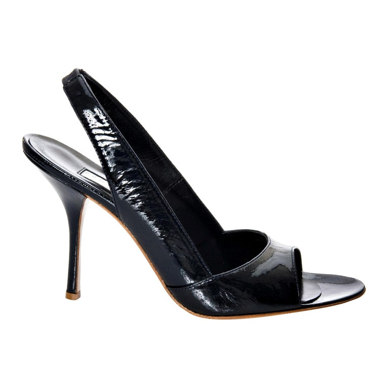 New Edmundo Castillo Black Patent Leather Sling Heels Sz 7 For Sale