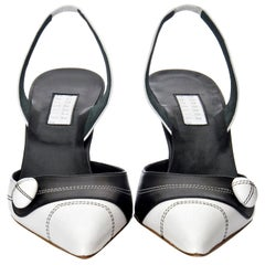 New Edmundo Castillo Black & White Leather Slingback Heels Sz 7