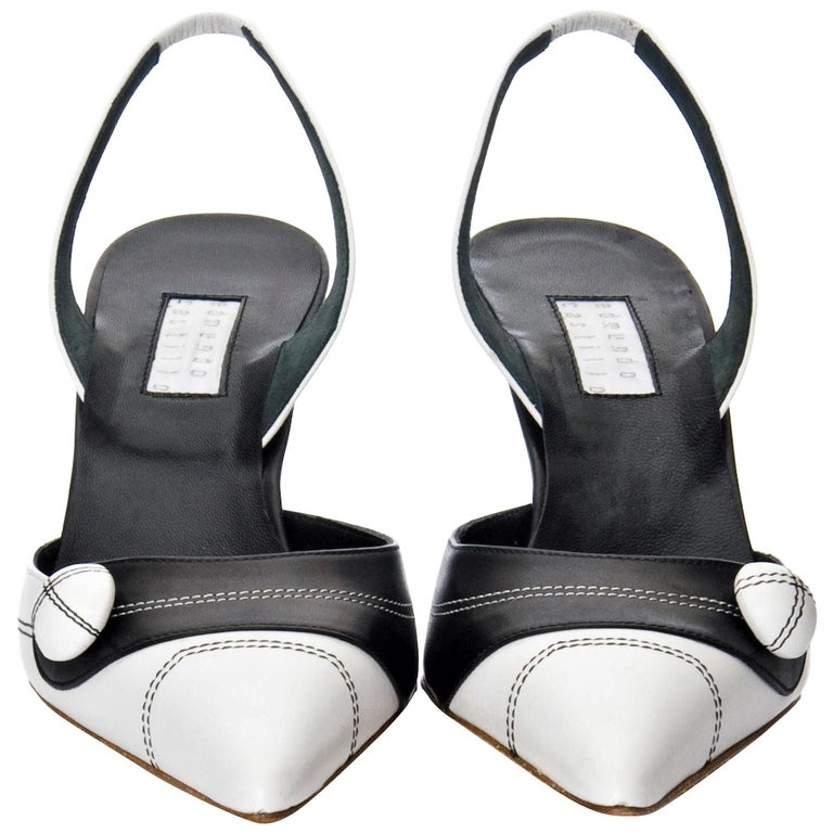 New Edmundo Castillo Black & White Leather Slingback Heels Sz 7.5 For Sale