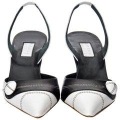 New Edmundo Castillo Black & White Leather Slingback Heels Sz 7.5