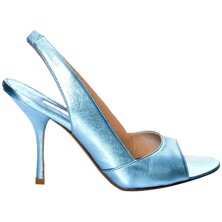 New Edmundo Castillo Blue Metallic Napa Leather Sling Heels Sz 6.5 For Sale