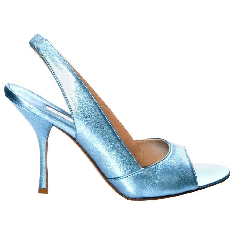New Edmundo Castillo Blue Metallic Napa Leather Sling Heels Sz 7.5 For Sale