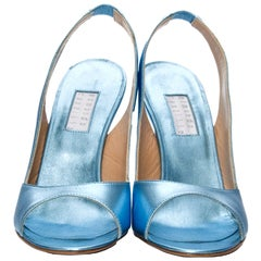 New Edmundo Castillo Blue Metallic Napa Leather Sling Heels Sz 8