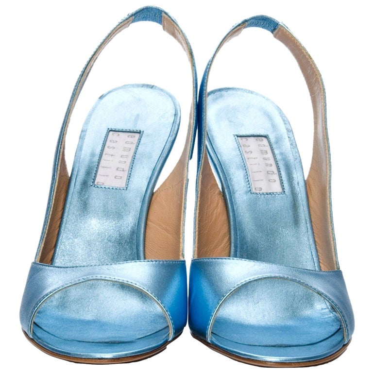 New Edmundo Castillo Blue Metallic Napa Leather Sling Heels Sz 8 For Sale