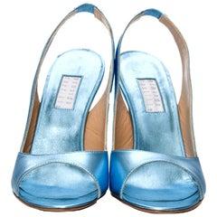 New Edmundo Castillo Blue Metallic Napa Leather Sling Heels Sz 8