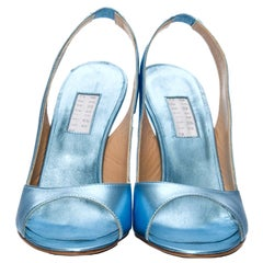 New Edmundo Castillo Blue Metallic Napa Leather Sling Heels Sz 8.5