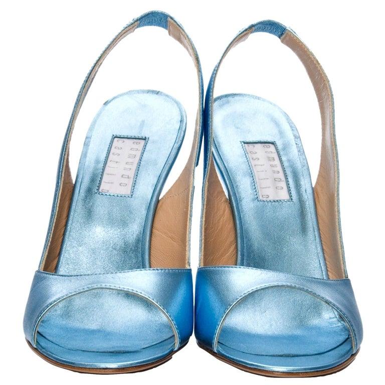 New Edmundo Castillo Blue Metallic Napa Leather Sling Heels Sz 8.5 For Sale