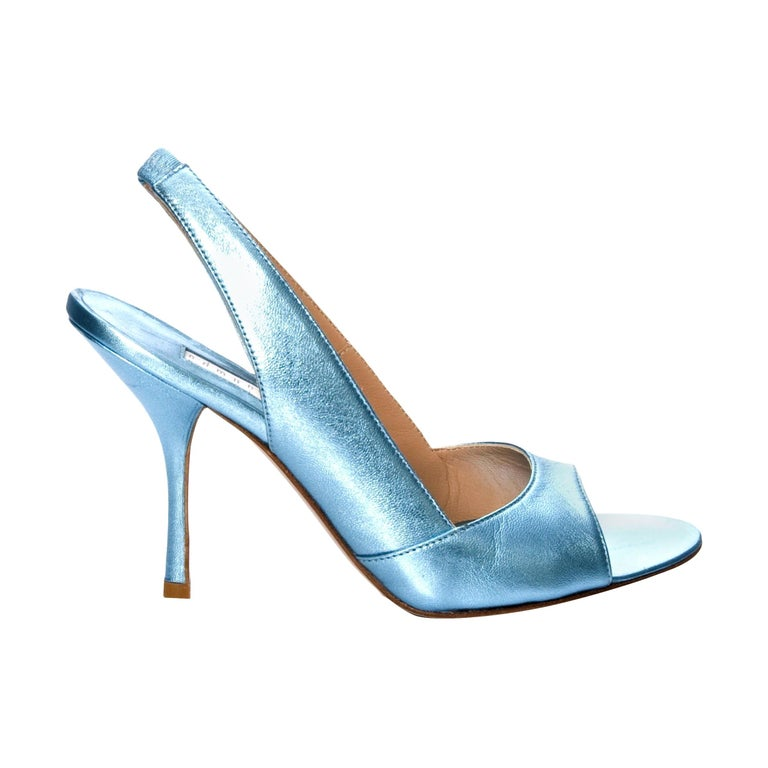 New Edmundo Castillo Blue Metallic Napa Leather Sling Heels Sz 9 For Sale