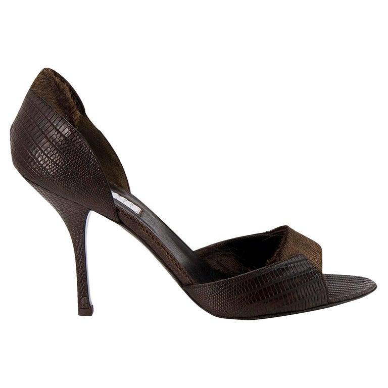 New Edmundo Castillo Brown Lizard and Fur Heels 8 For Sale
