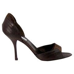 New Edmundo Castillo Brown Lizard and Fur Heels 8