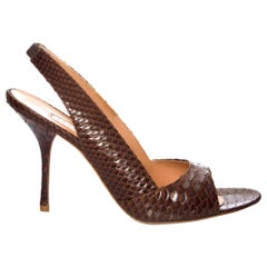 New Edmundo Castillo Brown Python Snakeskin Pump Heels Sz 8