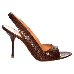 New Edmundo Castillo Brown Python Snakeskin Pump Heels Sz 8
