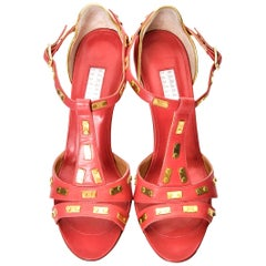 New Edmundo Castillo Coral Leather and Gold Metal Heels Sz 7