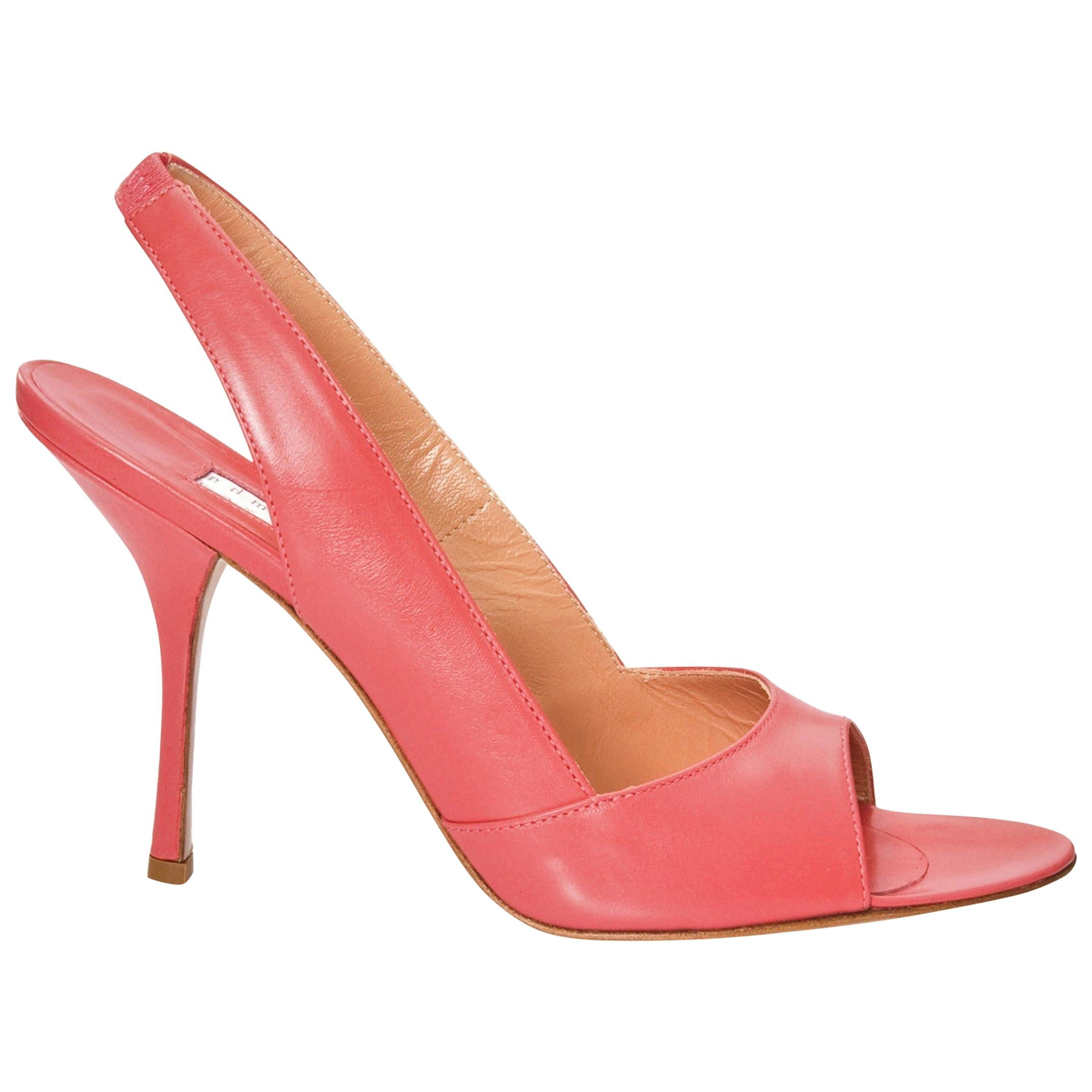 New Edmundo Castillo Coral Leather Sling Heels Sz 7.5