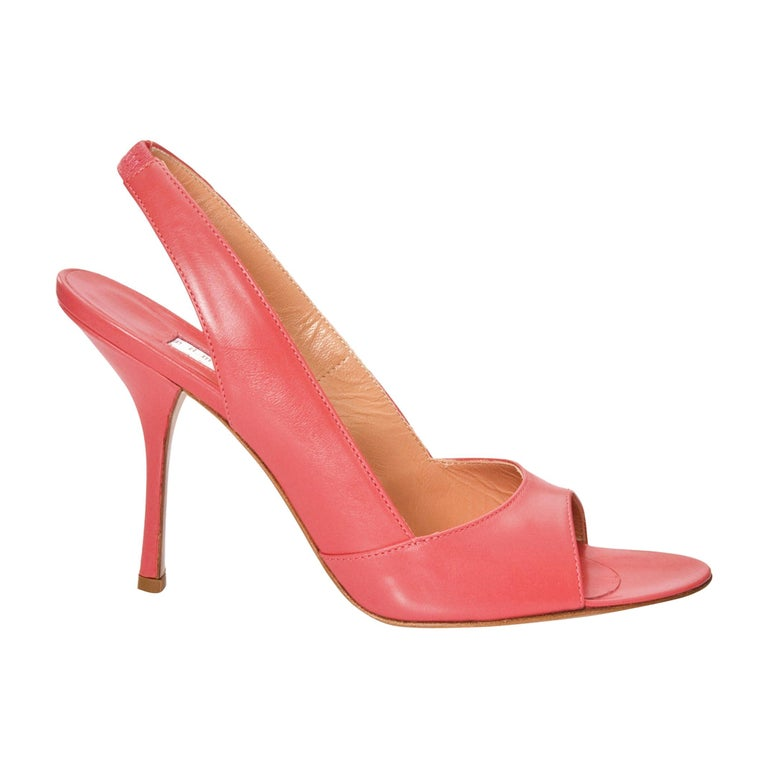 New Edmundo Castillo Coral Leather Sling Heels Sz 8.5 For Sale