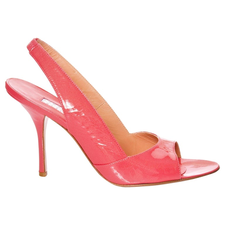 New Edmundo Castillo Coral Patent Leather Sling Heels  For Sale