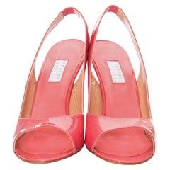 New Edmundo Castillo Coral Patent Leather Sling Heels